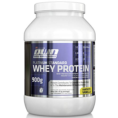 OWN - Platinum Standard Whey Protein Muscle Building Supplement with Glutamine and Amino Acids, Vanilla Flavour, 900g