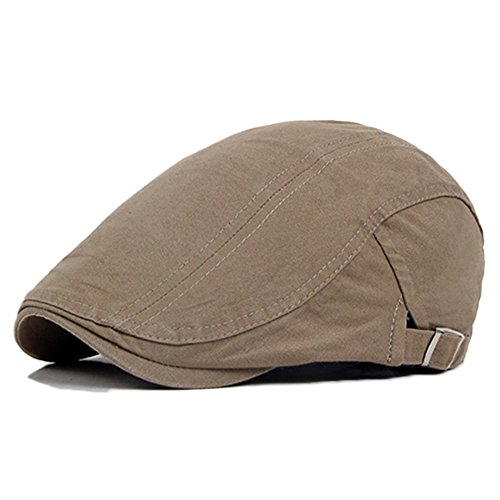 Bluelans® Trendige Vintage Gatsby Flatcap Schiebermütze Cabbie Ivy Flat Cap Golfermütze (Khaki)