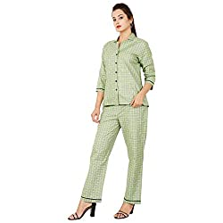 Womens Night Suit & Night Shirt, Light Green Front Open Night Dress with Heart & Dot Print,Pure Cotton Night wear,Top and Pyjama Set with 3/4 Sleeve