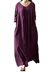 Material: Cotton, comfortable to wear. Note: this is a plus size dress, very roomy, we would like to suggest that you go down a small size if you are a slim fit. Ladies kaftans full length dress highlights V neck, pleated details to front, long sleev...
