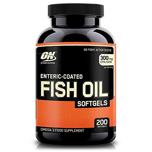 Optimum Nutrition Fish Oils- Omega 3 Fischöl-Kapseln mit 180mg EPA und 120mg DHA pro Softgel-Kapsel von ON- Unflavoured, 200 Portionen, 200 Kapseln