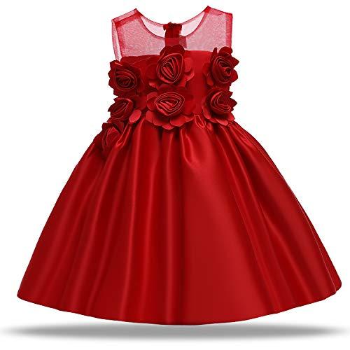 TTYAOVO Baby Mädchen 3D Blumenkleid Hochzeit Geburtstagsparty Prinzessin Rot Ballkleid Größe 90 (12-24 Monate) 727 Rot