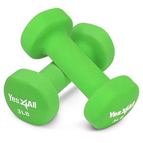 Yes4All 3 lbs Dumbbells Neoprene with Non Slip Grip – Great for Total Body Workout – Total Weight: 6 lbs (Set of 2)