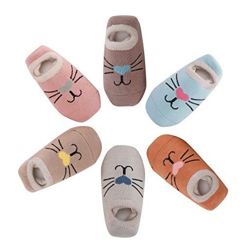 Estwell 6 Pares Calcetines Bebé Antideslizante Infantil Niños Niñas Invierno Grueso Calcetines Animados