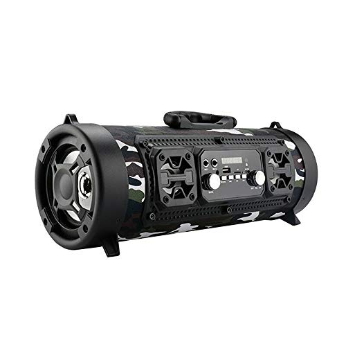 WElinks Wireless Bluetooth Speaker High-Power 15W Music Barrel Speaker Portable Waterproof High-Power Speaker Indoor Outdoor Loud Sound Music Playing Speaker (Camouflage)