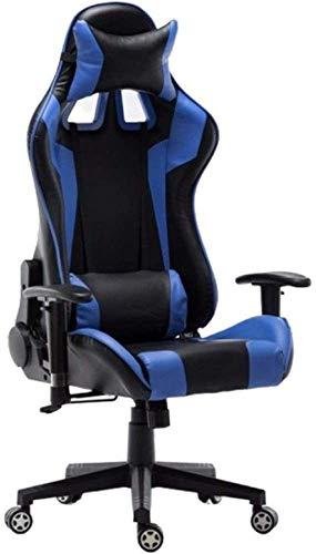 HJW Silla ergonómica para juegos con respaldo alto, silla de ordenador para casa, oficina, silla reclinable, silla deportiva, sillón ajustable, azul, como se muestra