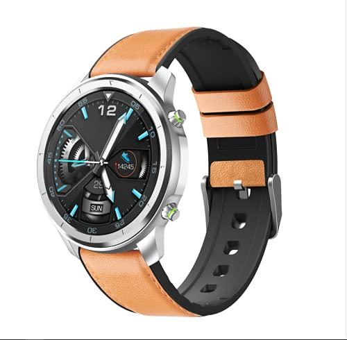 QFSLR Smartwatch, Reloj Inteligente con Cronómetro, Pulsera Actividad con Monitor De Frecuencia Cardíaca Monitor De Presión Arterial Monitoreo De Oxígeno En Sangre Mujer Hombre,Brown e