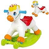 bakaji cavallo a dondolo 2in1 cavalluccio cavalcabile trasformabile in ride on 4 ruote con luci e suoni alfabeto e numeri giocattolo prima infanzia educativo bambino