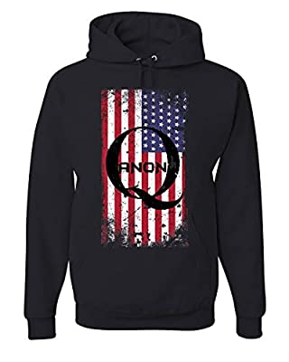 Distressed American QANON Flag Hoodie The Great Awakening USA Sweatshirt Black 3XL by