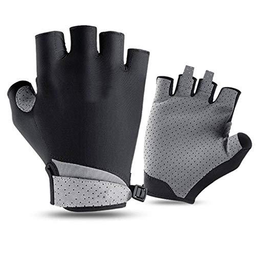 Golf Handschuh Halber Finger,Golf Draussen Bewegung Sonnenschutz Sommer- Schweißaufnahme Atmungsaktiv Weich Gemütlich-schwarz-S