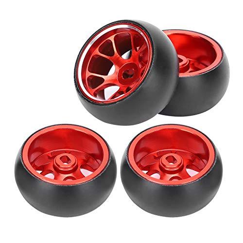 Pneumatici RC, Sostituzione delle gomme della deriva del mozzo della Ruota in Metallo con Telecomando per Wltoys k969 1/28 RC Auto Circa 20 g(Rosso)