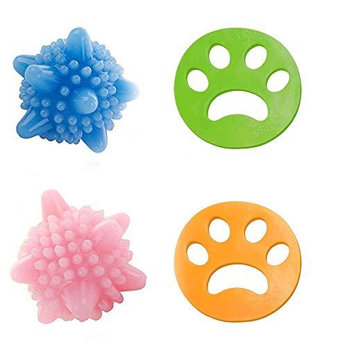 2 Pcs Haustier Haarentferner für Wäsche ,Tierhaarentferner Haustier Haarentferner Flusensiebe für Waschmaschine Haarfänger Haarentfernung +2 Pcs Wäscherei Bälle für Hundehaar, Tierhaar & alle Haustier