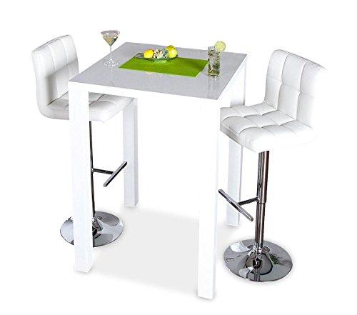 levandeo Bar-Tisch Tresen Weiß Hochglanz Stehtisch Bartresen - 3