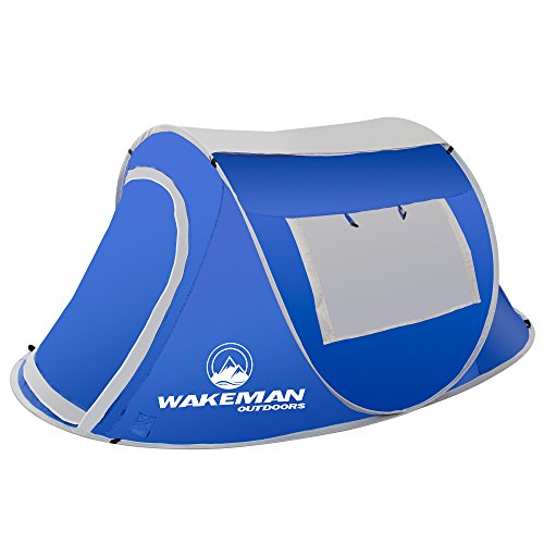 Wakeman Outdoors Pop-up Tent 2 Person, Water Resistant Barrel Style Tent for Camping With Rain Fly And Carry Bag, Sunchaser 2-person Tent Blue