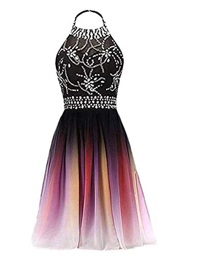 FWVR Ombre Short Prom Dresses for Juniors Beaded Gradient Homecoming Party Dress 2021