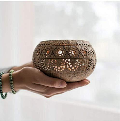 cocovibes Kokosnuss Teelichthalter, Tischlaterne, Deko Lichtspiel handgemacht, Windlicht, exotisch, filigranes Ornament