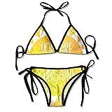 Trajes de baño Frase de Sol con Lindos triángulos y Puntos Étnico Kitsch Amor San Valentín Romance Obra de Arte Bikini Traje de baño Traje de baño