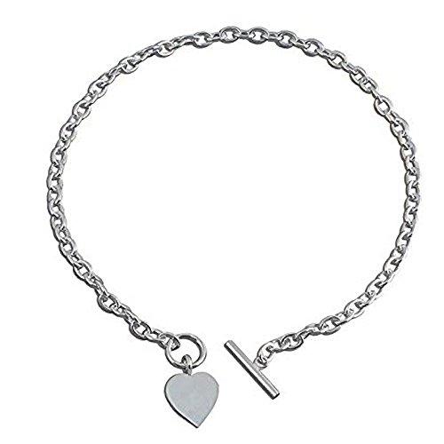 Ciondolo a forma di cuore in argento Sterling–Collana Chunky collana in argento con cuore tag–40,6cm pollici/41cm–designer Inspired