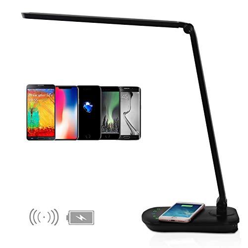 Schreibtischlampe LED USB-Anschluss und Qi Induktiv Wireless Charger Laden für Handy Dimmbar Faltbar Multifunktionale Tischlampen Augenschonend Büro 8W Schwarz