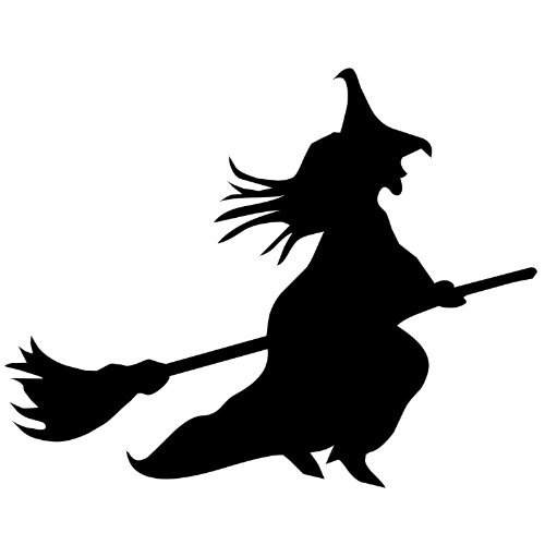 Colour Black Witch on broomstick, cauldron vinyl sticker, decal Vinyl, Car Window, bedroom, wall ( 20cm Height or 8 ) ThatVinylPlace by ThatVinylPlace