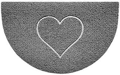 Nicoman Embossed Halfmoon Half Circle Door Mat Dirt-Trapper Jet-Washable Doormat 70x44cm (Grey, Heart Shape) - Use Indoor or Sheltered Outdoor