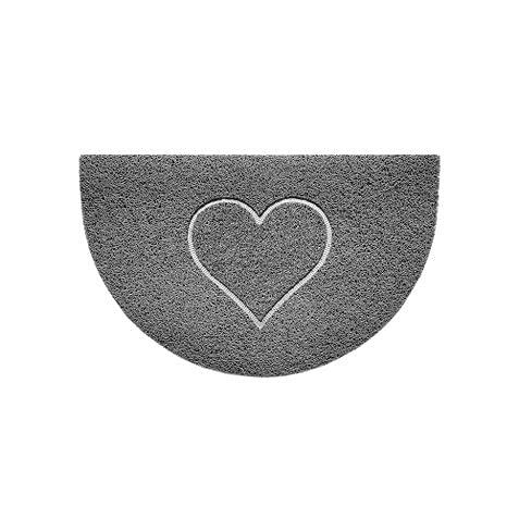 Nicoman Felpudo de Media Luna en Relieve, con Forma de corazón, Lavable, 70 x 44 cm (Gris, Forma de corazón), para Uso en Interiores o Exteriores protegidos