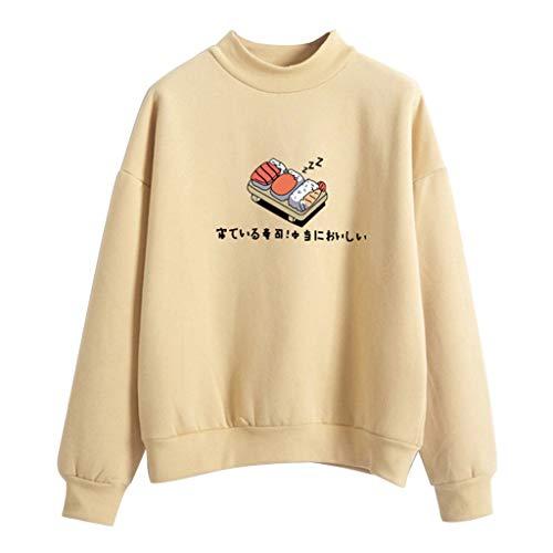 Qiuxiaoaa Kapuzenpullover, Damen Winter Hoodies, Candy Farbe Cartoon Kawaii Sushi japanische Print Sweatshirt, verdicken Fleece Harajuku Pullover lose Trainingsanzug, Khaki Large