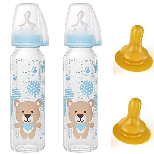 NIP Glas Flasche 250 ml // 2er Set // Glas-Babyflasche 250 ml // inkl. 4 Trinksauger Größe M (Silikon + Kautschuk/Milch/ab 0 Monate)