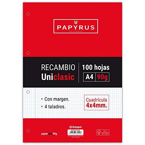 Unipapel Recambio Hojas Cuadrículadas 4x4 mm, con Margen, 90 g, Paper, Multicolor, A4