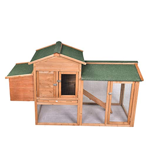 GOJOOASIS 67' Outdoor Wooden Chicken Coop Hen House Poultry Cage w/ Wire Fence Indoor and Outdoor Use (D)