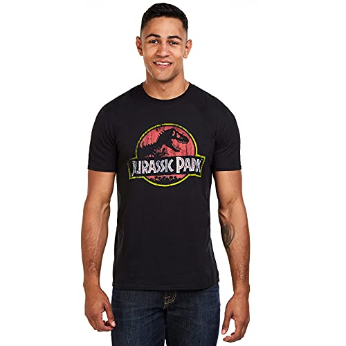Jurassic Park Herren Distressed Logo T-Shirt, Schwarz (Schwarz Schwarz), XL