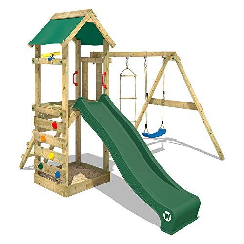 WICKEY Parco giochi in legno FreeFlyer Giochi da giardino con altalena e scivolo verde, Torre di arrampicata da esterno con sabbiera per bambini