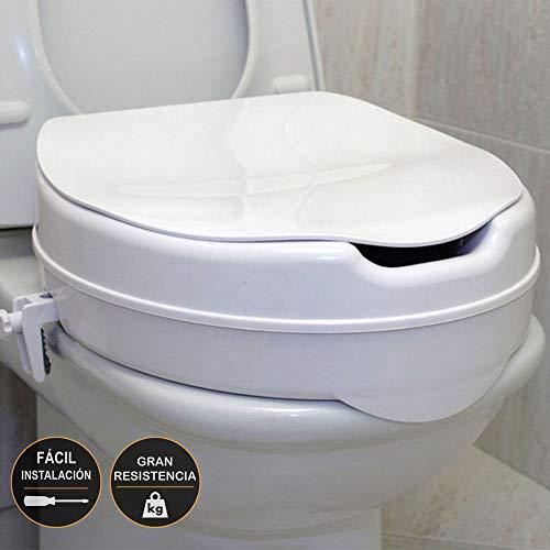 Kibath 143834 Elevador baño alzador de WC Color Blanco Incluye adaptadores para Fijar al Inodoro y darle Estabilidad soporta hasta 150 kgs, Cromo brillo