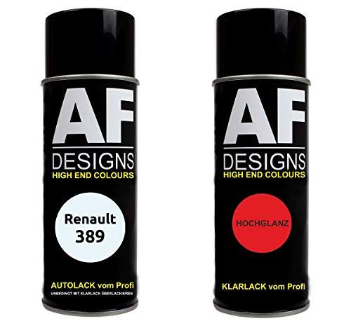 Alex Flittner Designs Autolack Spraydose Set für Renault 389 Blanc Glacier Basislack Klarlack Sprühdose 400ml