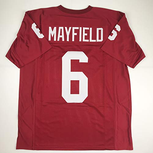 Unsigned Baker Mayfield Oklahoma Maroon College Custom Stitched Football Jersey Size Men's XL New No Brands/Logos
