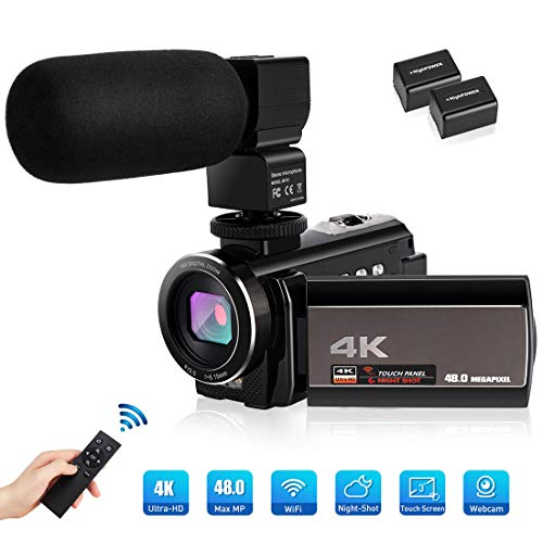 Camcorder Videokamera,4K Digitalzoom Digitalkamera Vlogging-Kamera für YouTube 3,Karte Full HD 1080P 30FPS 16X 0-Zoll-LCD 270 Grad IPS-Bildschirm-LED mit 2 Batterien