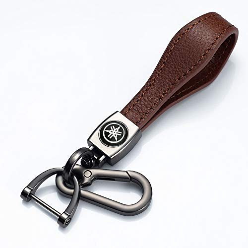 JIYUE 1Pack Genuine Leather Car Logo Keychain Suit for Yamaha Motorcycles Bike Biker Key Chain Bag Key Chain Keyring Family Present for Man and Woman