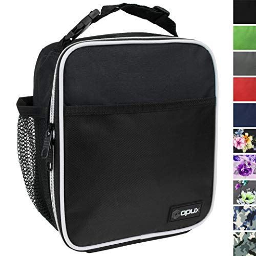 OPUX Premium Insulated Lunch Box | Soft Leakproof School Lunch Bag for Kids, Boys, Girls | Durable Reusable Work Lunch Pail Cooler for Adult Men, Women, Office Fits 6 Cans (Black)