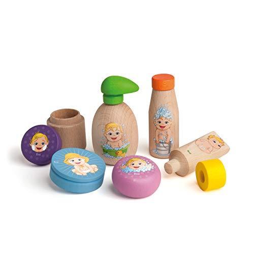 Erzi Pflegeserie aus Holz zum Spielen im Kaufladen oder Spielküche - Seifenspender, Haarwäsche, Cremedose, Cremetopf, Cremetube, Seifenstück