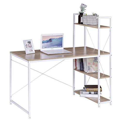 eSituro SCD0068 Schreibtisch Computertisch Bürotisch Arbeitstisch mit Ablage Holz Stahl Hell Eiche