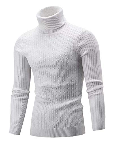 QZH.DUAO Men's Casual Slim Fit Turtleneck Pullover Sweaters, White, US Small = Tag 3XL