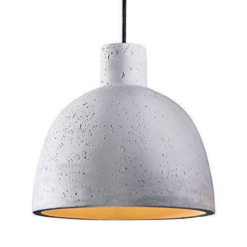 SSC-LUXon Lámpara de techo NUA de hormigón, 1 foco, con cable de tela, E27, LED, 10 W, luz blanca cálida, lámpara de techo de hormigón, mesa de comedor