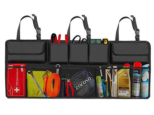 zaroso Kofferraum Organizer für Auto KFZ mit Netztaschen [100x40cm] Klett Befestigung | Kofferraum Tasche mit Gepäcknetzen in Schwarz
