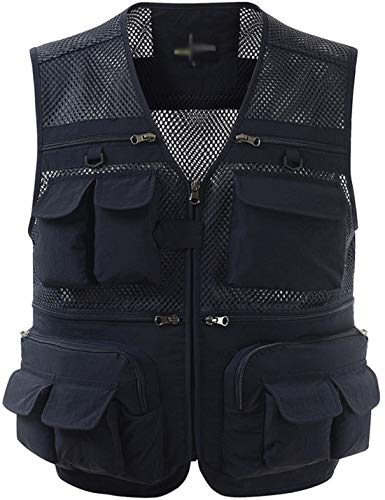 Flygo Zhusheng Men's Mesh 16 Pockets Photography Fishing Travel Outdoor Quick Dry Vest Breathable Waistcoat Jackets (Small, Navy Blue)