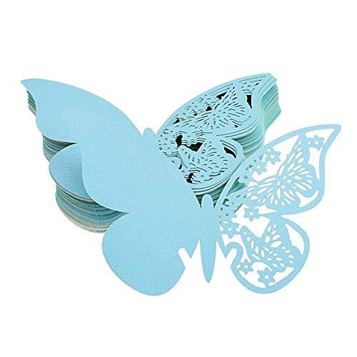 FLOWOW 100x Farfalla Decorazioni Perlato Blu segna Posto segnaposto segnatavolo segnabicchiere bomboniera per Matrimonio Compleanno Nascita Laurea Festa Natale segna posti segnaposti