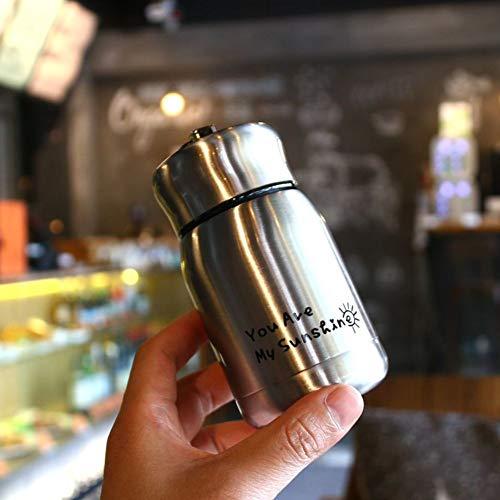 ZZXXBB Wasserflasche Kompakt Mini, Warmen Glas Kreativ Leicht Zu Tragen Heberinge Edelstahl Schöne-Silber Weiss 12x4.5cm(5x2inch)
