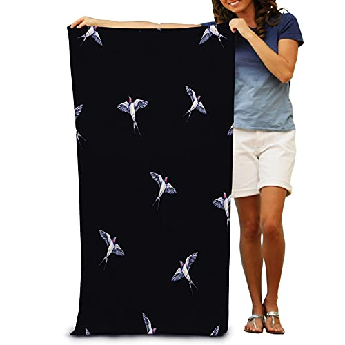 IUBBKI Beautiful Swallow Black Watercolor Spring Bird Bath Towel for Adult Super Soft Plush Quick Dry Ultra Shaggy Pool Towel 31 x 51