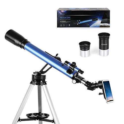TELMU Téléscope - 60 / 700 mm Téléscope Astronomique, Oculaires K6mm et K25mm, viseur 5x24 et Molette d'Azimut, Vue 360°, Convient aux Amateurs Débutants (avec Adaptateur pour Smartphone)