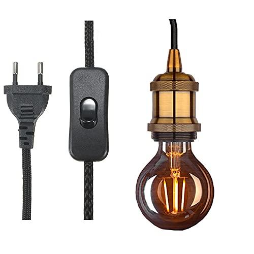 Casquillo E27 con interruptor, cable eléctrico de tela de cable de 1,8 metros para portalámparas de bombilla/Edison retro lámpara colgante