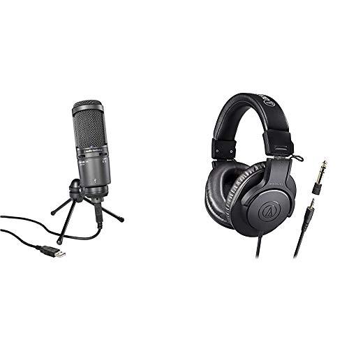 audio-technica USB Microphone AT2020USB++ Monitor Headphones ATH-M20x/1.6 Set